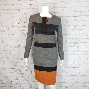 Jil Sander Gray and Orange Colorblock Dress